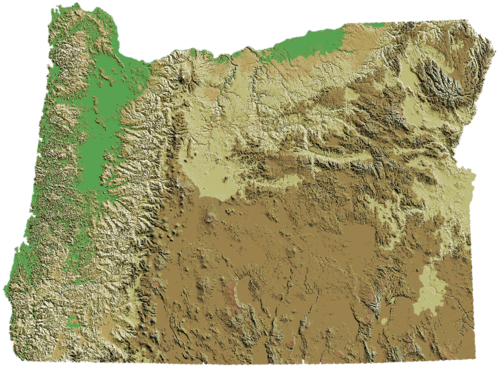 Oregon's topography. Oregon DEM relief map.png