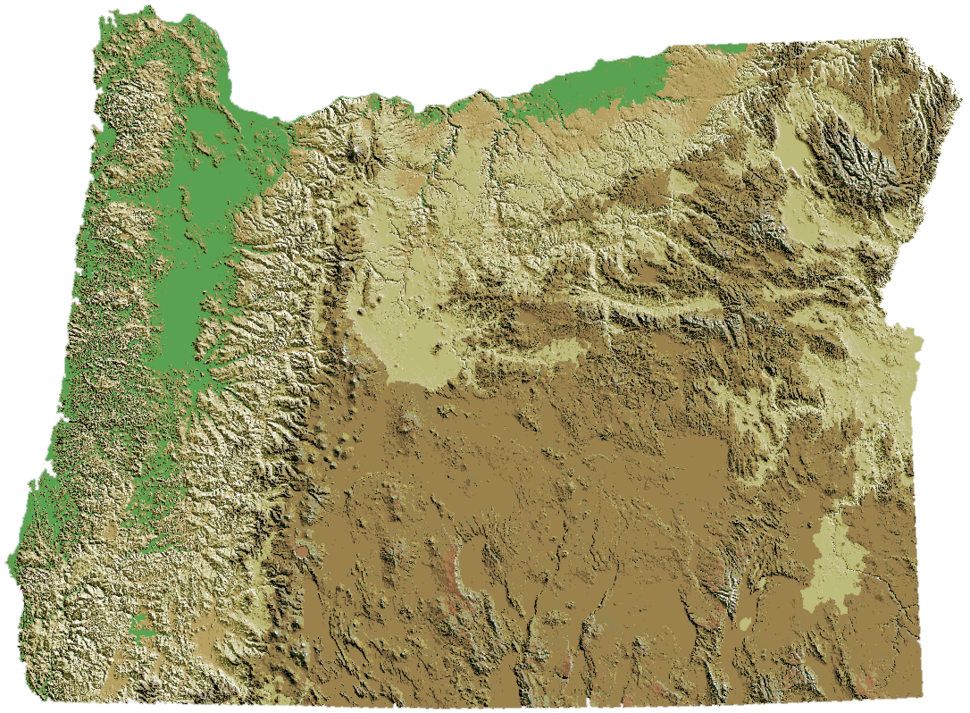 Oregon DEM relief map