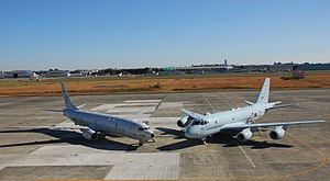 Kawasaki P-1 - P-1 with its US equivalent, the Boeing P-8 Poseidon in 2014