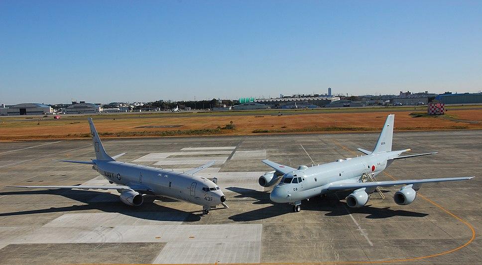 P-8A of VP-5 and Japanese Kawasaki P-1 at NAF Atsugi in 2014.JPG