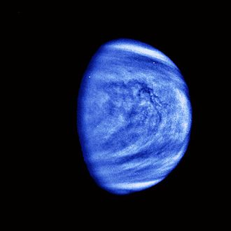 Photograph taken by the unmanned Galileo space probe en route to Jupiter in 1990 during a Venus flyby. Smaller-scale cloud features have been emphasized and a bluish hue has been applied to show that it was taken through a violet filter. PIA00072 Venus Cloud Patterns - colorized and filtered.jpg