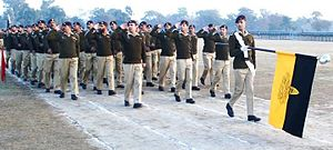 Army Air Defence Command (Pakistan) - An Army Air Defence Regiment lowers the Regimental Flag during march past