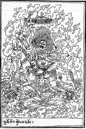 Shannan, Tibet - Palden Lhamo the goddess residing in the Holy Lake or Lhamo Latso