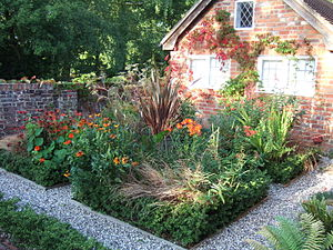 Part of a parterre in an English garden. Photo...