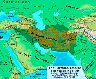 Roman–Parthian Wars - Parthia, its subkingdoms, and neighbors in 1 AD.