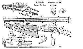 Henry rifle - patent drawing of the Henry rifle.