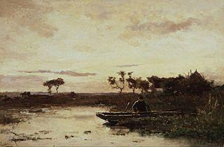 Polderlandscape with fisherman