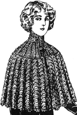 Cape - A young woman in a crocheted cape.