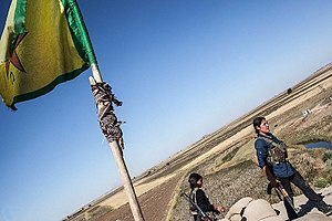 Battle of Ras al-Ayn - Female Kurdish fighters manning a chekpoint near Ras al-Ayn.