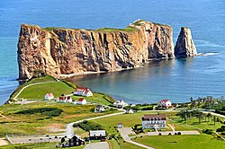 The village and the famous Percé Rock, from nearby Mont-Sainte-Anne.