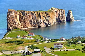 Percé, Quebec - The village and the famous Percé Rock, from nearby Mont-Sainte-Anne.