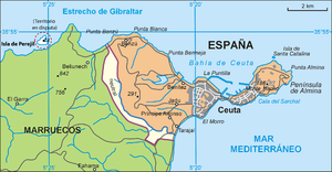 Perejil Island - Isla de Perejil in relation to Ceuta.