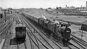 Peterborough railway station - View southward, towards Peterborough North station from Spital Bridge in 1962