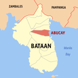 Map of Bataan showing the location of Abucay