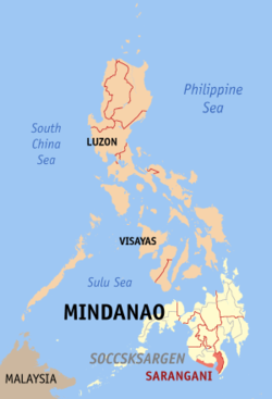 Map of the Philippines with Sarangani highlighted
