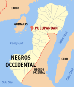 Mapa ti Negros Occidental a mangipakita ti lokasion ti Pulupandan, Negros Occidental.