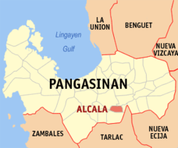 Map of Pangasinan showing the location of Alcala