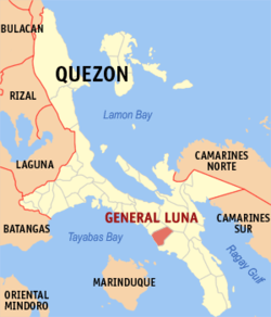 Map of Quezon showing the location of General Luna