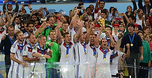 FIFA World Cup Trophy - Captain Philipp Lahm lifts the World Cup trophy for Germany in 2014.