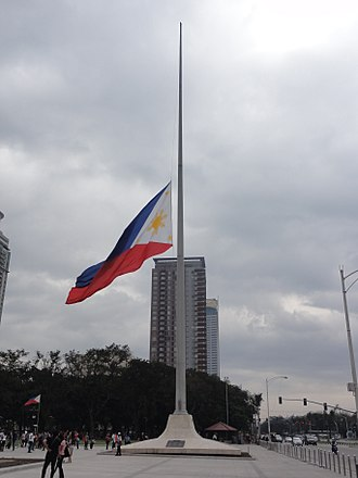 Flag of the Philippines - The Philippine flag at Rizal Park, flown at half-mast on January 30, 2015, during the National Day of Mourning in the aftermath of the Mamasapano clash