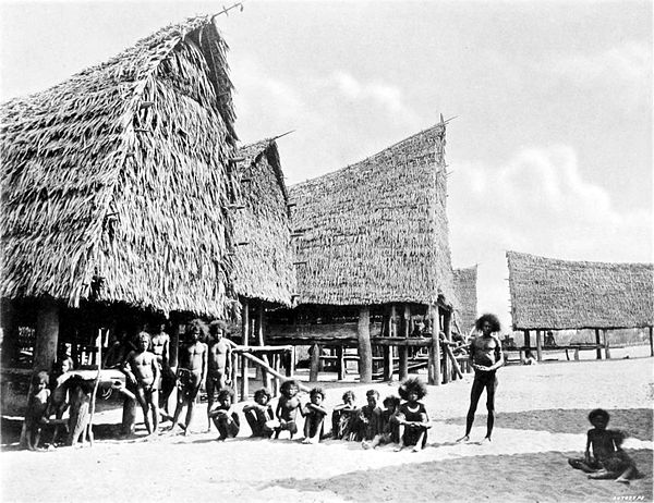 Black and white photograph of a line of large thatched, raised buildings.  A line of people stand and squat in the open area of the foreground.