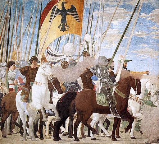 Piero della Francesca, Vittoria di Costantino su Massenzio (De overwinning van Constantijn over Maxentius), le Storie della Vera Croce, Basilica di San Francesco, Arezzo