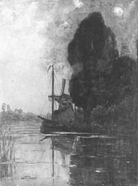 Piet Mondriaan - Windmill with tall trees and moored barges - A425 - Piet Mondrian, catalogue raisonné.jpg
