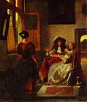 Pieter de Hooch - Interior with a couple making music at a table with a woman seen from behind.jpg