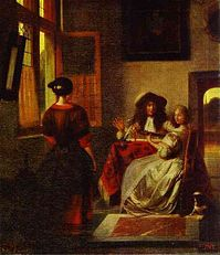 A Couple Making Music at a Table, with a Serving Girl