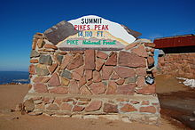 The sign constructed of stones at the summit of Pikes Peak, Pike National Forest, Colorado