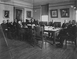 John S. Pillsbury - Pillsbury at a Board of Regents meeting at the University of Minnesota.