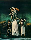 Pirsomani. Woman and her children going to a spring.jpg