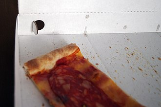 Pizza box - The opening on the side of the box allows humidity to evaporate