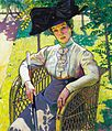 Plány Lady Wearing a Hat in a Sunlit Garden 1910.jpg