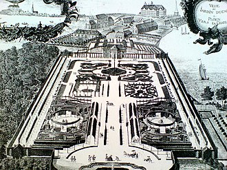 Frederick Charles, Duke of Schleswig-Holstein-Sonderburg-Plön - The gardens of Plön Castle at the time of Frederick Charles, 1749.