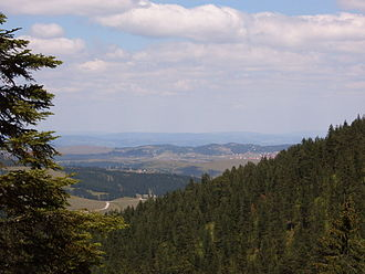 Zlatibor - A view from Tornik towards the village of Ribnica