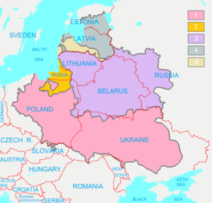 Belarusians - Image: Polish Lithuanian Commonwealth (1619) compared with today's borders (ENG)