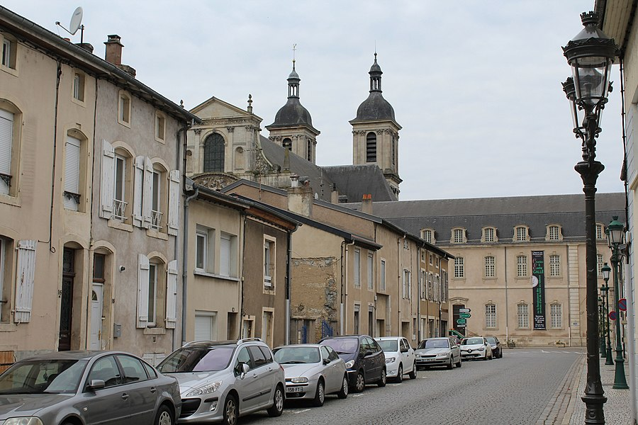 "Pont-à-Mousson, the street ""Rue Damay"", view to the Norbertine abbey"