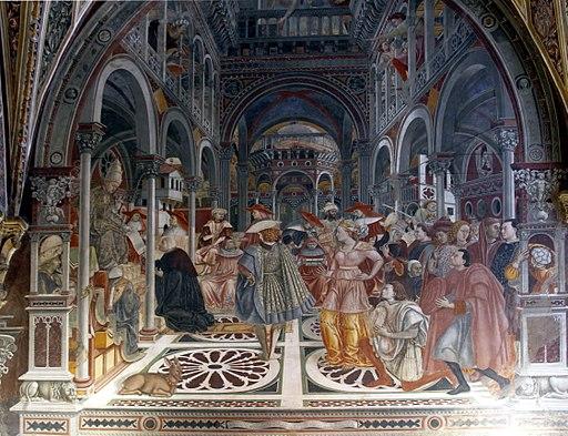 Pope Celestine III grants autonomy to the Hospital by Domenico di Bartolo - Santa Maria della Scala