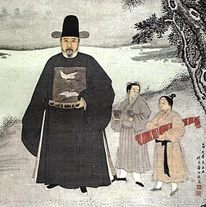 "Scholar-official - A 15th-century portrait of the Ming official Jiang Shunfu. The decoration of two cranes on his chest are a ""mandarin square"", indicating that he was a civil official of the first rank."
