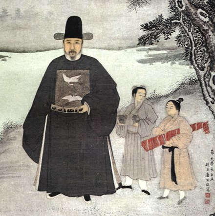 A 15th-century portrait of the Ming official Jiang Shunfu. The cranes on his mandarin square indicate that he was a civil official of the sixth rank. Portrait of Jiang Shunfu.jpg