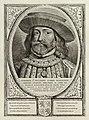 Portret van Jan II, graaf van Holland, met een keten om de hals en een hoed. De omlijsting is versierd met het wapen van Holland. NL-HlmNHA 1477 53012914.JPG