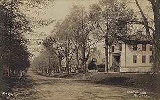 Durham, Connecticut - 1910 street scene with school