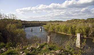 James Rumsey - The Potomac at Shepherdstown, with the second James Rumsey Bridge in the background, as seen from the Rumsey Monument