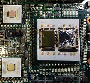 POWER5 - 2 way POWER5 CPU, heat-sink removed (damaged CPU die)