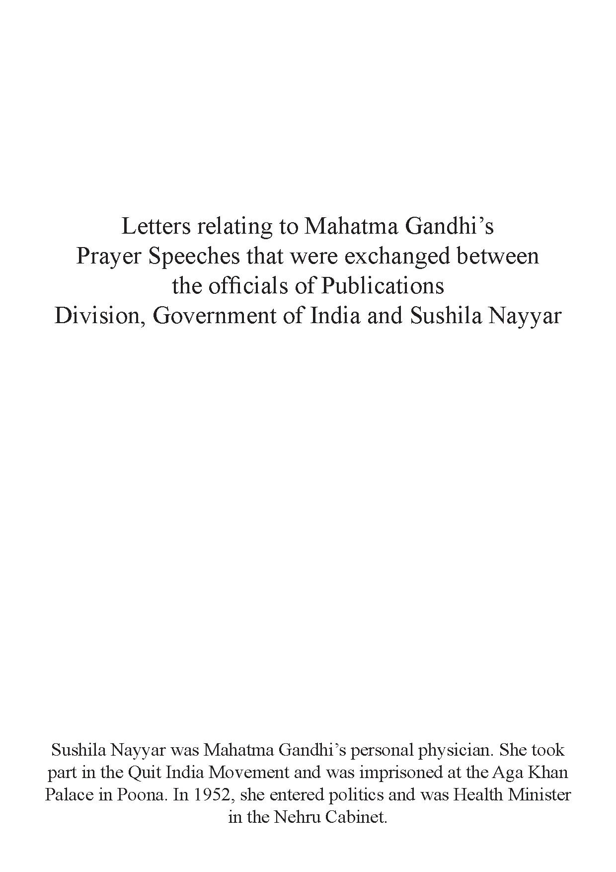 Official correspondence relating to Prayer Speeches of Mahatma Gandhi