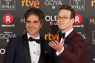 Joaquín Reyes (actor) - Joaquín Reyes (right) at the 32nd Goya Awards in 2018 with Ernesto Sevilla