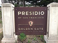 Presidio of San Francisco - Golden Gate National Recreation Area welcome sign.jpg