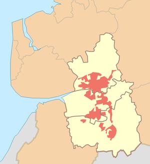 Districts of Preston - Image: Preston Urban Area locator map