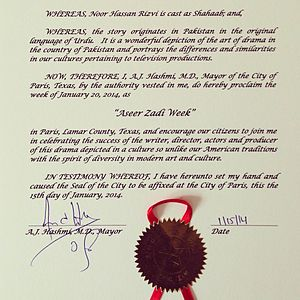 Noor Hassan - Proclamation by the mayor of the City of Paris, Texas